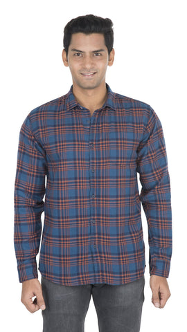 Blue And Orange Checks Color Cotton Mens Shirt - VS-5