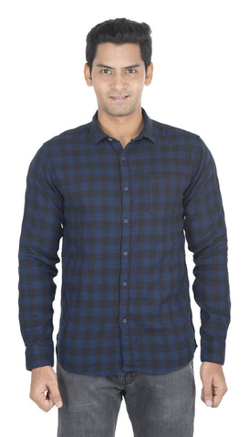 Blue And Black Checks Color Cotton Mens Shirt - VS-7