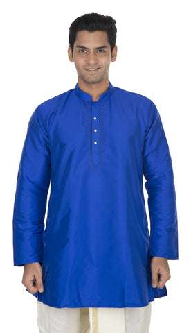 Blue Color Art Silk Men's Stitched Kurta - VS-KURTA1