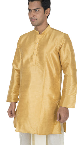Golden Color Art Silk Men's Stitched Kurta - VS-KURTA2