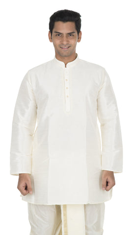 Cream Color Art Silk Men's Stitched Kurta - VS-KURTA3