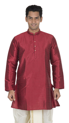 Maroon Color Art Silk Men's Stitched Kurta - VS-KURTA4