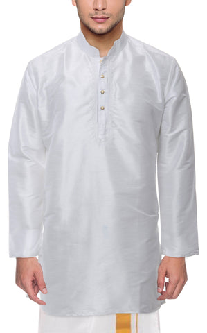 Gray Color Art Silk Men's Stitched Kurta - VS-KURTA5