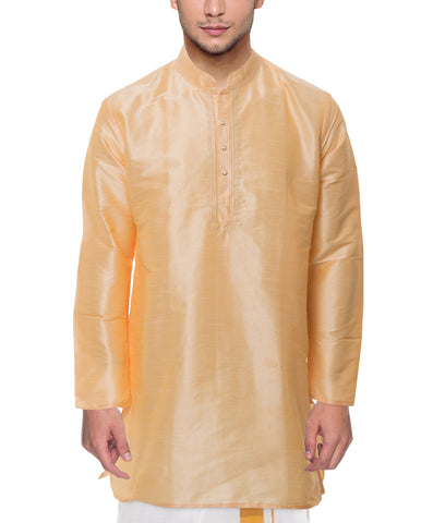 Peach Color Art Silk Men's Stitched Kurta - VS-KURTA6