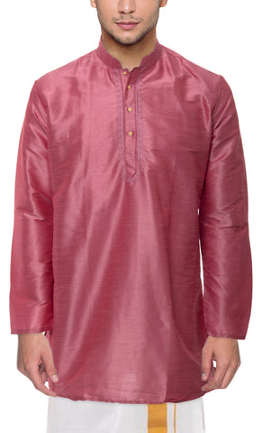 Strawberry Color Art Silk Men's Stitched Kurta - VS-KURTA7