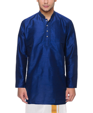 Royal Blue Color Art Silk Men's Stitched Kurta - VS-KURTA8