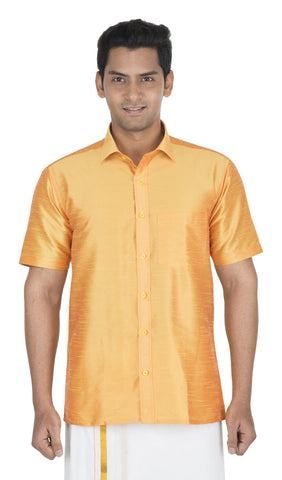 Golden Color Soft Art Silk Men's Solid Shirt - VS-SILKSHIRT1