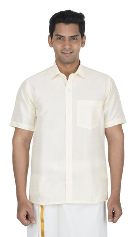 Cream Color Soft Art Silk Men's Solid Shirt - VS-SILKSHIRT2