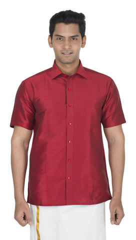 Maroon Color Soft Art Silk Men's Solid Shirt - VS-SILKSHIRT3