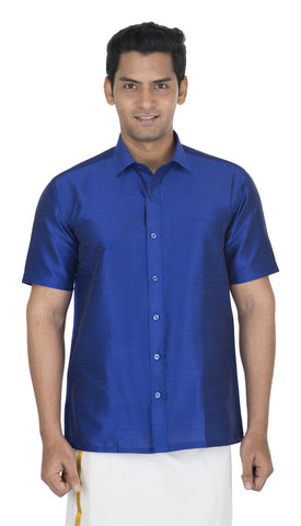 Blue Color Soft Art Silk Men's Solid Shirt - VS-SILKSHIRT5