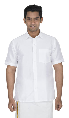 White Color Soft Art Silk Men's Solid Shirt - VS-SILKSHIRT6