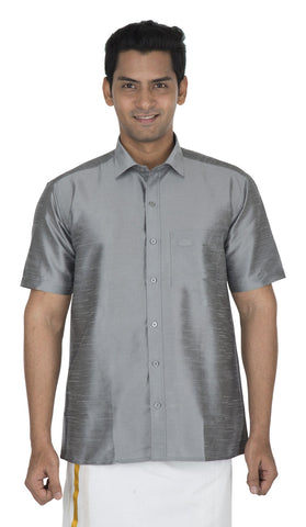 Grey Color Soft Art Silk Men's Solid Shirt - VS-SILKSHIRT7