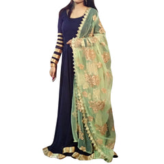 Buy Navy Blue  Color Georgette Stitched Indowestern