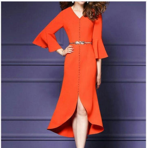 Orange Color Scuba Knit Stitched Dress - VS009