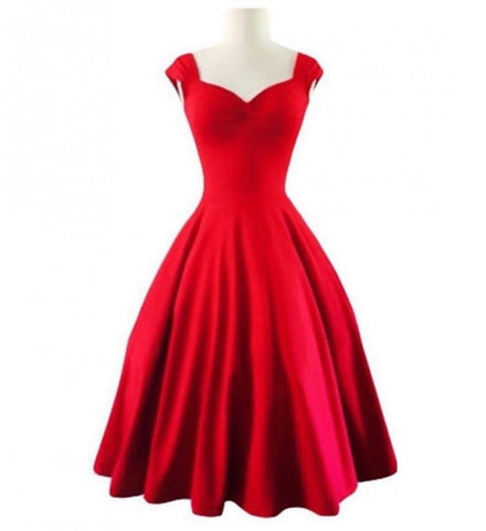 Red Color Crepe Stitched Dress - VS013