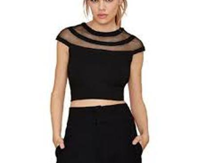 Black Color Scuba Knit Stitched Crop Top - VS014