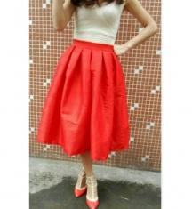 Orange Color Raw Silk   Stitched Skirt - VS015