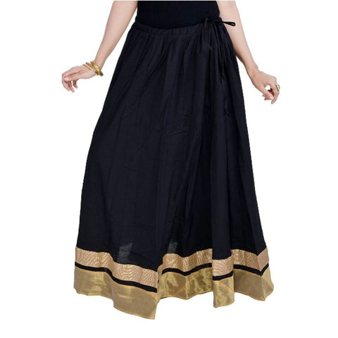 Black Color Cotton  Stitched Skirt - VS016