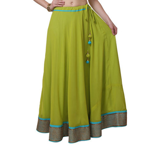 Green Color Cotton  Stitched Skirt - VS017