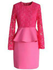 Buy Pink   Color Lace Net With Scuba Knit Stitched Dress