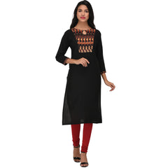 Black Color Rayon Kurti - VS1006