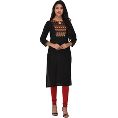 Buy Black Color Rayon Kurti