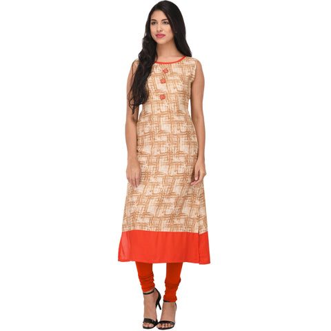 Beige Color Rayon Stitched Kurti - VS1008