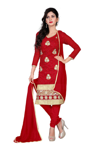 Red Color Chanderi Un Stitched Salwar - VSAMAYA04