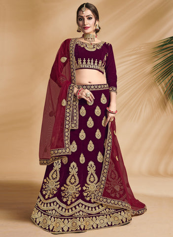 Maroon Color Velvet Women's Semi-Stitched Lehenga Choli - VSANDA36003
