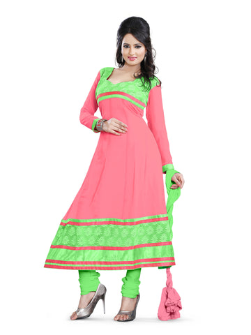 Peach Color Georgette Unstitched Salwar - VSCHY02