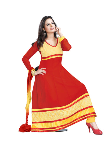 Red Color Georgette Unstitched Salwar - VSCHY03