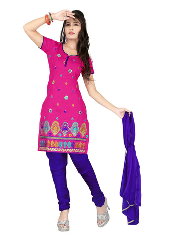 Pink Color Cotton Unstitched Salwar - VSCRBR101