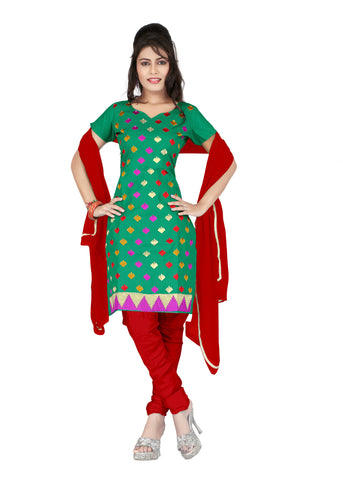 Green Color Cotton Unstitched Salwar - VSCRBR102
