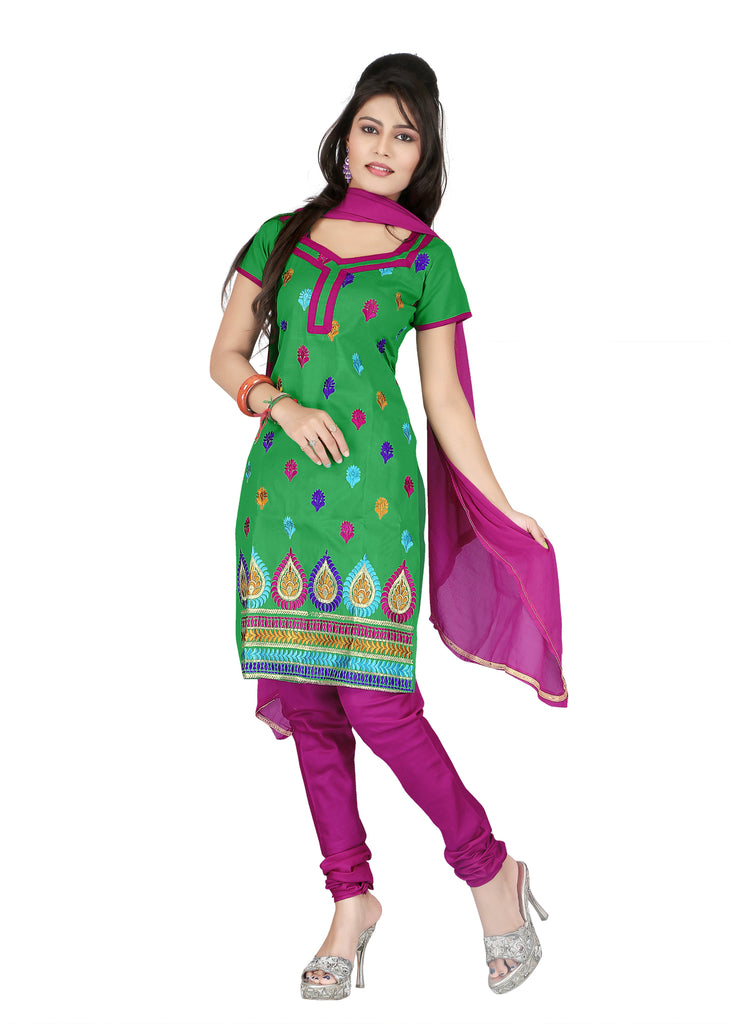 Buy Green Color Cotton Unstitched Salwar