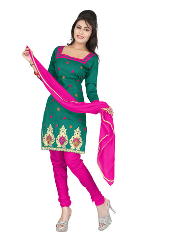 Dark Green Color Cotton Unstitched Salwar - VSCRBR108