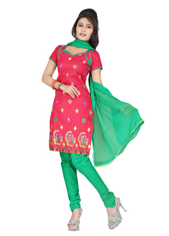 Red Color Cotton Unstitched Salwar - VSCRBR110