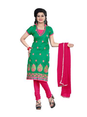 Green Color Cotton Unstitched Salwar - VSCRBR201