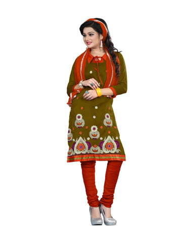 Mehndi Color Cotton Unstitched Salwar - VSCRBR202
