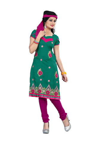 Green Color Cotton Unstitched Salwar - VSCRBR209