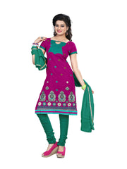 Buy Pink Color Cotton Unstitched Salwar