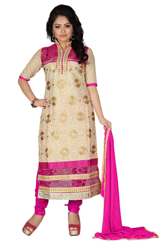 Chiku Pink Color Chanderi Unstitched Salwar - VSDSTN132
