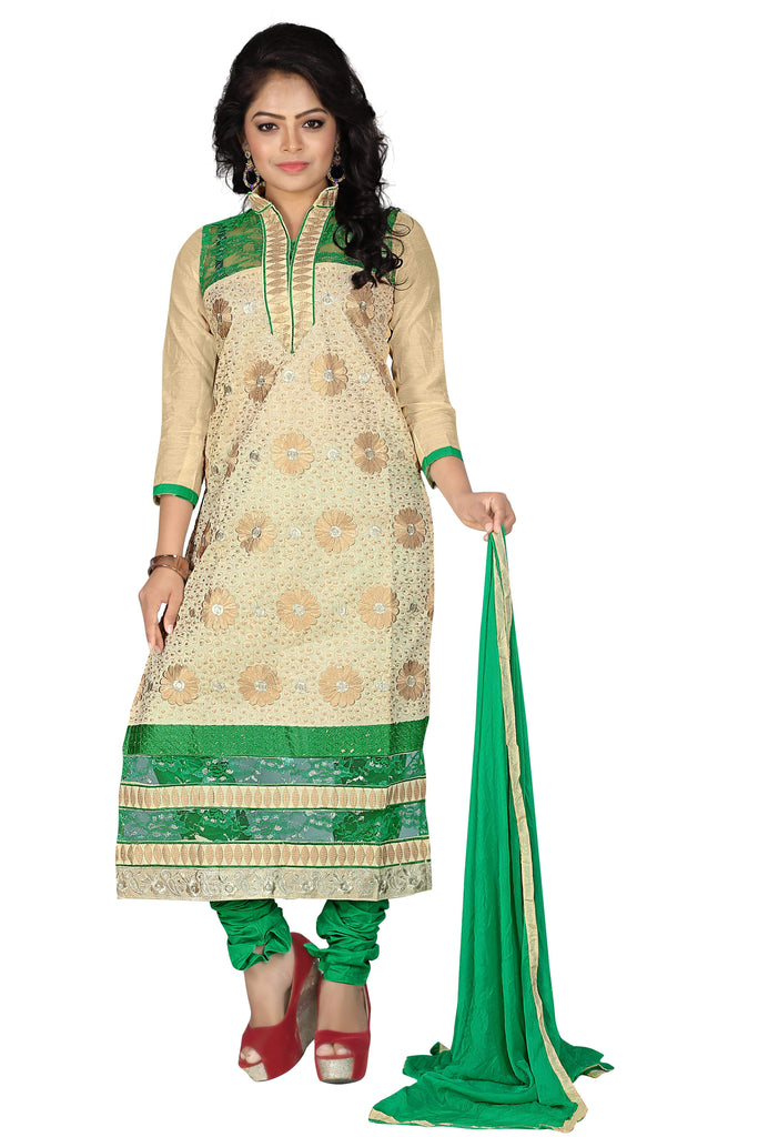 Buy Chiku Green Color Chanderi Unstitched Salwar