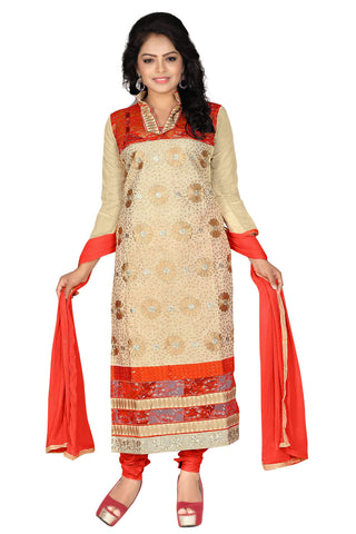 Chiku Orange Color Chanderi Unstitched Salwar - VSDSTN134
