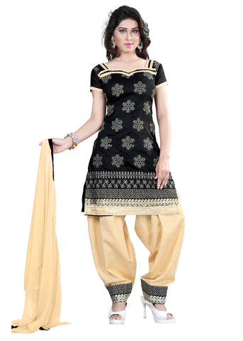 Black Color Chanderi Unstitched Salwar - VSELINA01