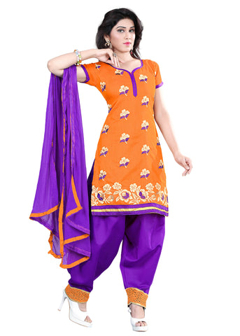 Orange Color Chanderi Unstitched Salwar - VSELINA02