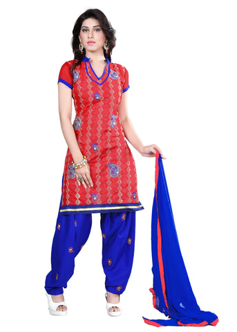 Red Color Chanderi Unstitched Salwar - VSELINA03