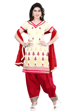 Cream Color Chanderi Unstitched Salwar - VSELINA04