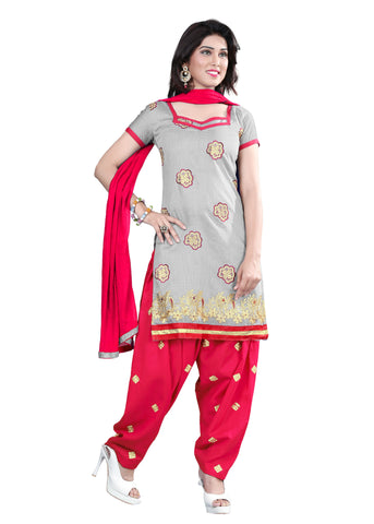 Grey Color Chanderi Unstitched Salwar - VSELINA06