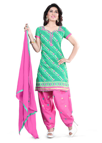 Sea Green Color Chanderi Unstitched Salwar - VSELINA07