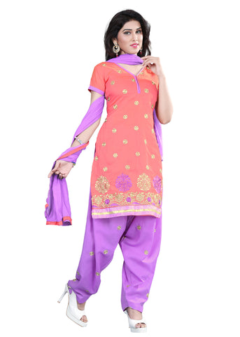 Gajri Color Chanderi Unstitched Salwar - VSELINA09